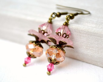 Mother's day gift earrings pink gift for wife pink dangle earring beadswork earrings drop earrings lucite flower earrings vintage boho style