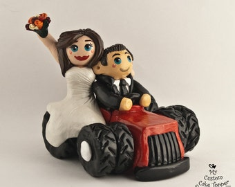 Bride and Groom Riding Tractor Custom Wedding Cake Topper