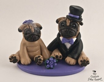 Pug Dog Wedding Cake Toppers