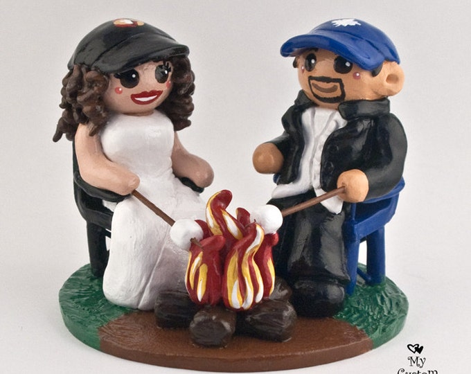 Bride and Groom Sitting Around Campfire Wedding Cake Topper