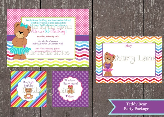 Items similar to Printable InvitationTeddy Bear Party Package – Build a Bear Birthday Invitations