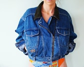 Vintage 80's Denim Biker Jacket Beety Barclay denim jacket
