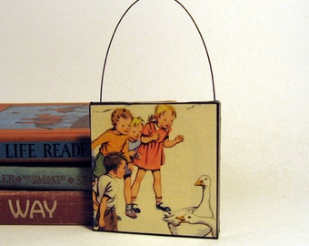 GEESE ORNAMENT Handmade Ornament from Vintage Upcycled Book Childrens Reader Christmas Ornament Farm Geese & Children
