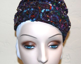 Vintage 60s Sequined Embellished Multicolored Toque Hat