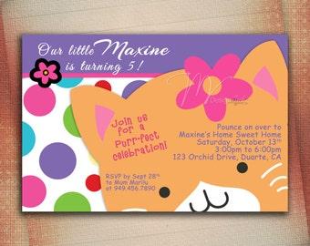 Kitty Cat Birthday Invitation, Pretty Kitty Cat Birthday Invite, Little Kitten Personalize Birthday Invite-Digital File You Print
