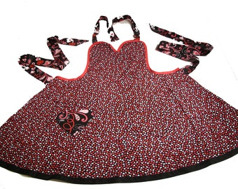 Handmade Apron - Hearts All Over  with Heart Shaped Pocket - made by Danica