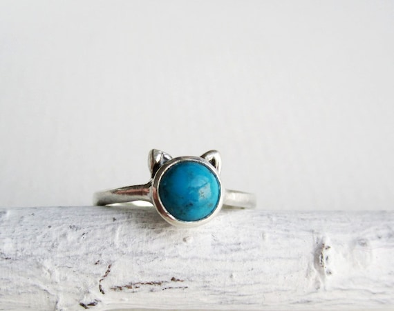 Blue Cat Ring, Turquoise and Sterling Silver Ring, MADE TO ORDER