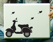 Scooter and Birds Sticker Decal Laptop Decal iPad