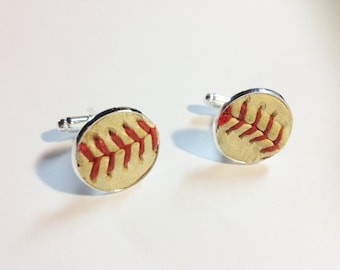 YOUR used game ball cuff links sterling silver plated memory keeper personalized softball dad soccer mom gift