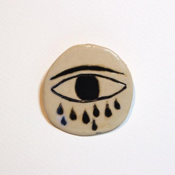 Eye-Cloud - Ceramic brooch