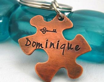 Personalized Puzzle Piece Keychain - Zipper Pull Key Fob - Hand Stamped Key Chain - Hand Stamped Puzzle Piece Key Chain - Custom Name Copper