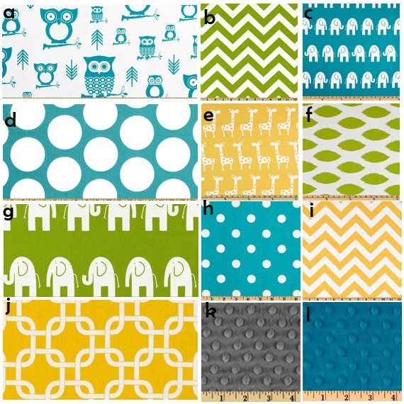 items similar to custom crib bedding yellow turquoise and green baby bedding on etsy. Black Bedroom Furniture Sets. Home Design Ideas