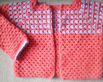 SALE Girl's coral and lilac cotton cropped crochet jacket cardigan