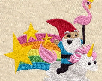 Gnome riding a unicorn through a rainbow with a flamingo embroidered feeding bib.