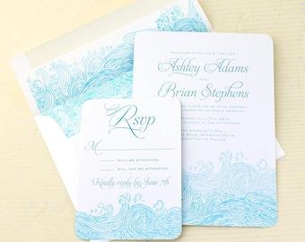 Waves Beach Wedding Invitations, Ocean Wedding Invitation, Nautical Wedding Invitations
