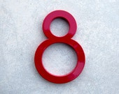 Modern House Number Aluminum Modern Font Number EIGHT  8 in RED
