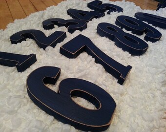 Wedding Table Numbers 1-10 - Handpainted & Freestanding - Set of 11 - 28cm high
