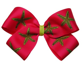 Large Hot Pink Beachy Vacation Starfish Hair Bow