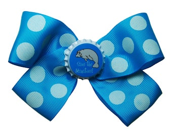 Large Turquoise Polka Dot Save the Manatees Hair Bow