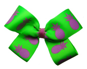 Large Pineapple Hot Pink and Lime Hair Bow