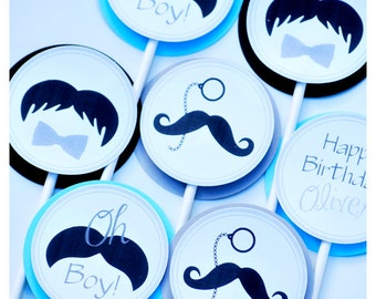 Little Man Mustache Party Cupcake Toppers