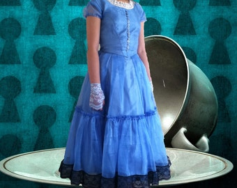 "Disney Tim Burton's ""Alice in Wonderland"" - Alice cosplay dress & FREE fingerless gloves, Party, Play, Halloween, gift for her"
