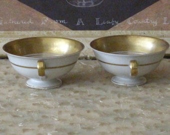 Sale Bone China Gold Trimmed Petite Footed TEA 4 TWO Vintage Goblet Tea Cups