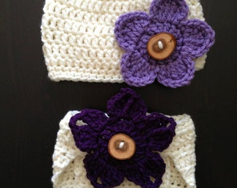Crochet Beanie & Diaper cover set - with wood button and 3 Interchangeable Flowers (Newborn, 3-6 month, 6-12 month sizes) - knit, hat, baby