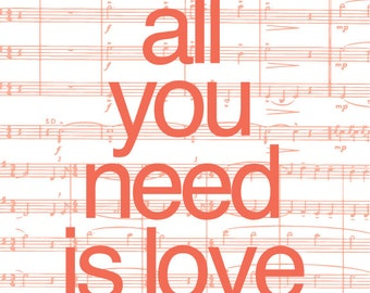All You Need is Love Song Lyric Art Print / Beatles Sheet Music Personalized Art Poster Digital Print / 8x10