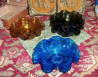 Fluted Bowls Blue Amber Green Pressed Colored Glass Get All Five Or One