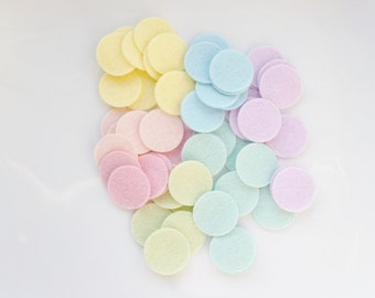 "Pastel felt circle selection 50 in pack size 1"" felt circles toy safety felt die cut wool blend felt"
