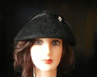 Vintage Black Fur Felt Wool Hat