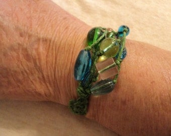 sTaTement BrAceLeT in shades of green and blue on green hemp FREE SHIP TO U.S.:)