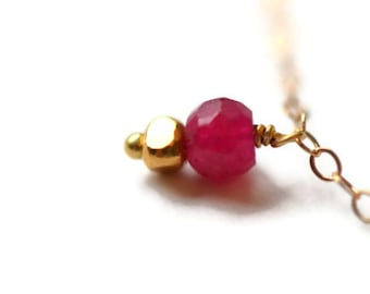 Long Ruby Necklace, Yellow Gold Vermeil Beads, Delicate 14k Gold Chain