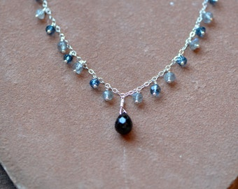 SALE Mixed Gemstone Necklace, Black Spinel Pendant with Labradorite and London Blue Topaz, Delicate Silver Chain