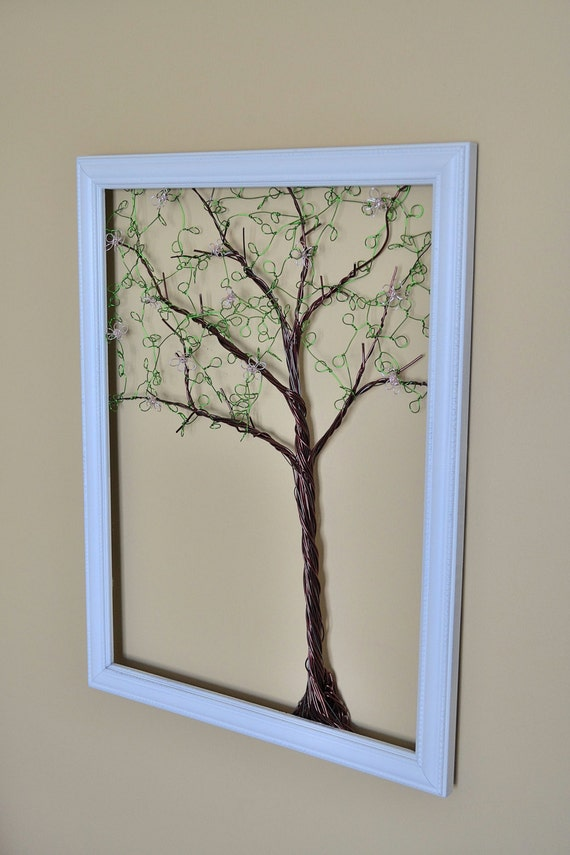 Framed Wall Art Jewelry Organizer Holder Wire Spring  Tree with Leaves and Pink Blossoms -Useful Wire Art