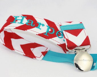 Red and turquoise Personalized Pacifier clip, Baby shower gifts Custom Made by GisellasDesigns