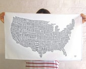 American Gastronomy Map Tea Towel Grey