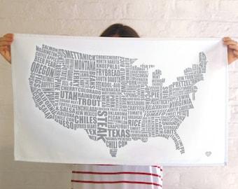 American Gastronomy Map Tea Towel Grey