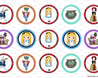 "15 Alice in Wonderland/Mad Hatter Digital Download for 1"" Bottle Caps (4x6)"