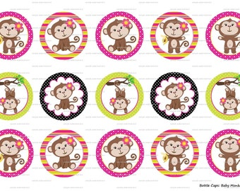 "15 Baby Monkey Girl 1 Digital Download for 1"" Bottle Caps (4x6)"