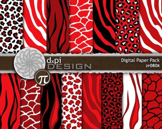 Red Animal Prints - Digital Paper & Printable Backgrounds - Red Leopard, Zebra, Tiger, Giraffe Scrapbook Paper - Instant Download (DP080R)