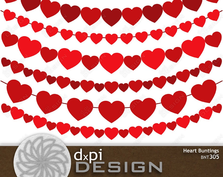 Digital Heart Buntings - Valentine Clip Art Buntings with ...