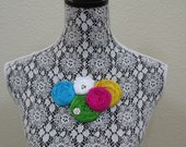 Spring Garden Handcrafted Silk Rosette and Flower Necklace with Swarovski on a Silver Chain