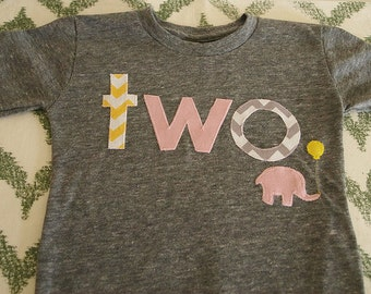 yellow pink and grey girls birthday shirt chevron elephant design girls birthday tee first birthday organic blend shirt