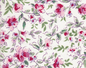Silky cotton lawn floral fabric in blues or pinks on white background