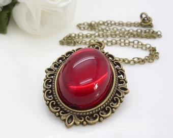 Dark red necklace, Victorian red necklace pendant, red gothic necklace, Vintage style red cabochon Antique bronze Gothic jewelry