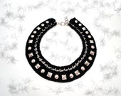 Black Studded Collar Bib Necklace - ChichiKnots