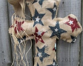 Burlap Cross Burlap Door Hanger Natural with Red, Blue and Silver Stars