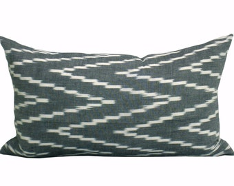 Kasari Ikat lumbar pillow cover in Graphite